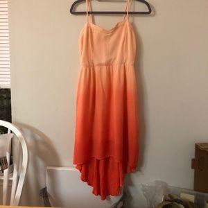 Fade orange high-low dress